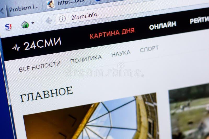 Ryazan Rosja, Maj, - 08, 2018: 24smi strona internetowa na pokazie pecet, url - 24smi info obrazy stock