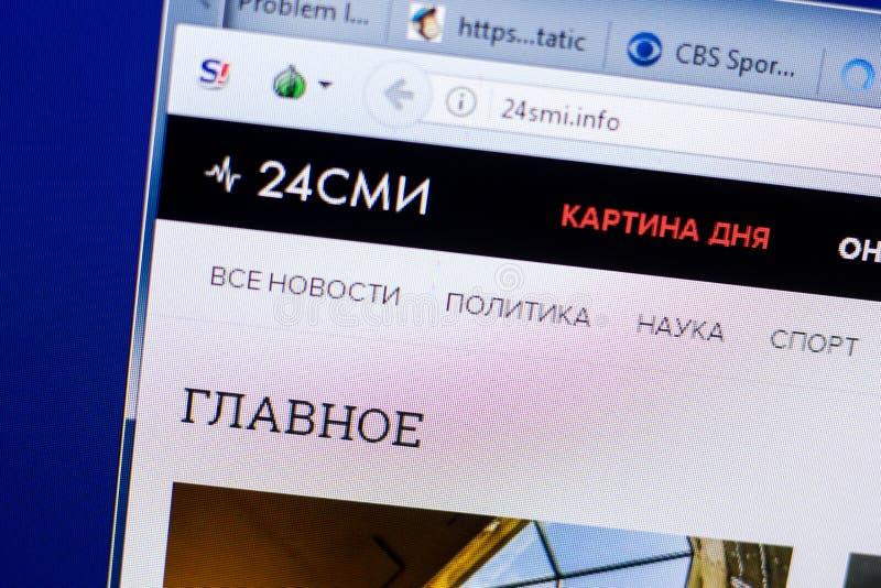 Ryazan Rosja, Maj, - 08, 2018: 24smi strona internetowa na pokazie pecet, url - 24smi info obraz stock