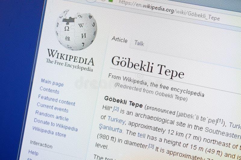 Ryazan Rosja, Sierpień, - 19, 2018: Wikipedia strona o Gobekli Tepe na pokazie pecet fotografia stock