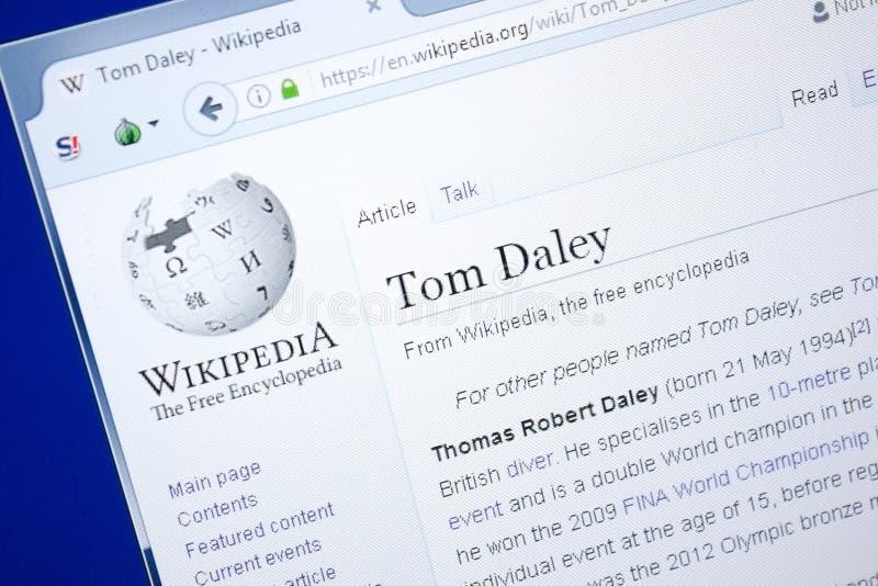 Ryazan Rosja, Sierpień, - 28, 2018: Wikipedia strona o Tom Daley na pokazie pecet zdjęcie stock