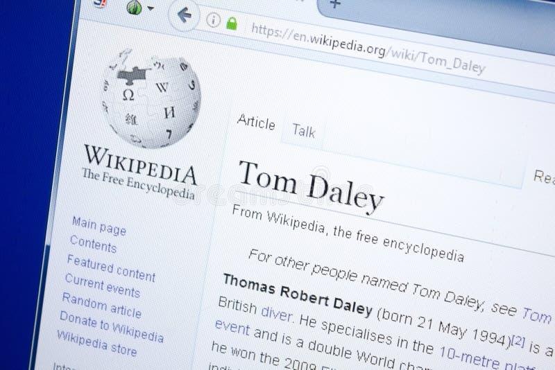 Ryazan Rosja, Sierpień, - 28, 2018: Wikipedia strona o Tom Daley na pokazie pecet zdjęcia royalty free