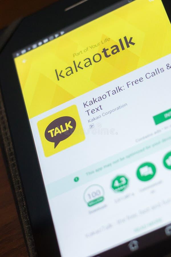 Ryazan, Rusia - 19 de abril de 2018 - charla app móvil de Kakao en la exhibición de la tableta foto de archivo libre de regalías