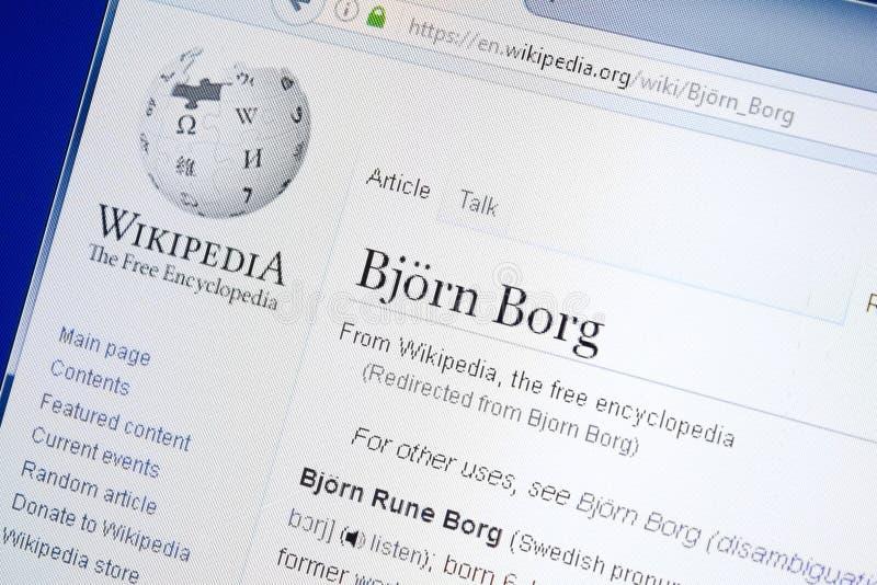 Ryazan, Rusia - 28 de agosto de 2018: Página de Wikipedia sobre Bjorn Borg en la exhibición de la PC fotografía de archivo