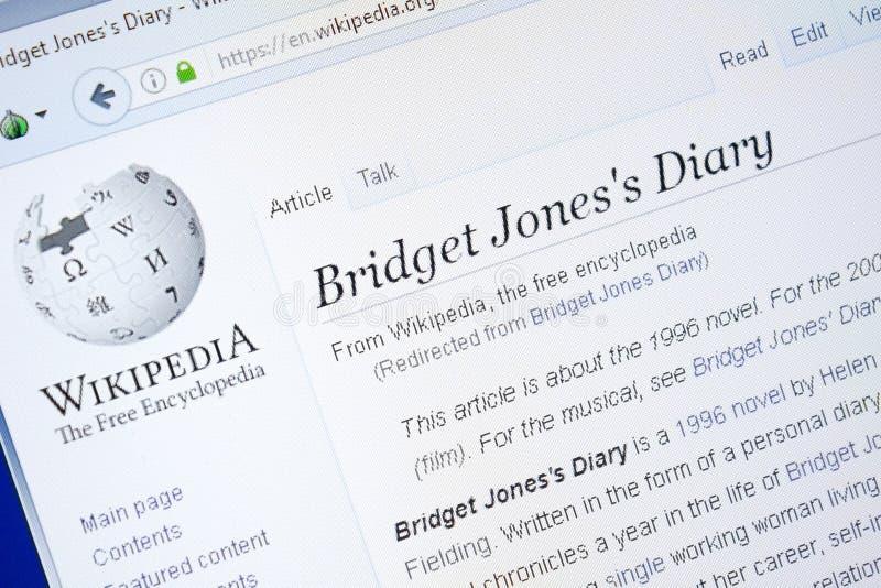 Ryazan, Rusia - 28 de agosto de 2018: Página de Wikipedia sobre Bridget Jones \ el 'diario de s en la exhibición de la PC imagen de archivo
