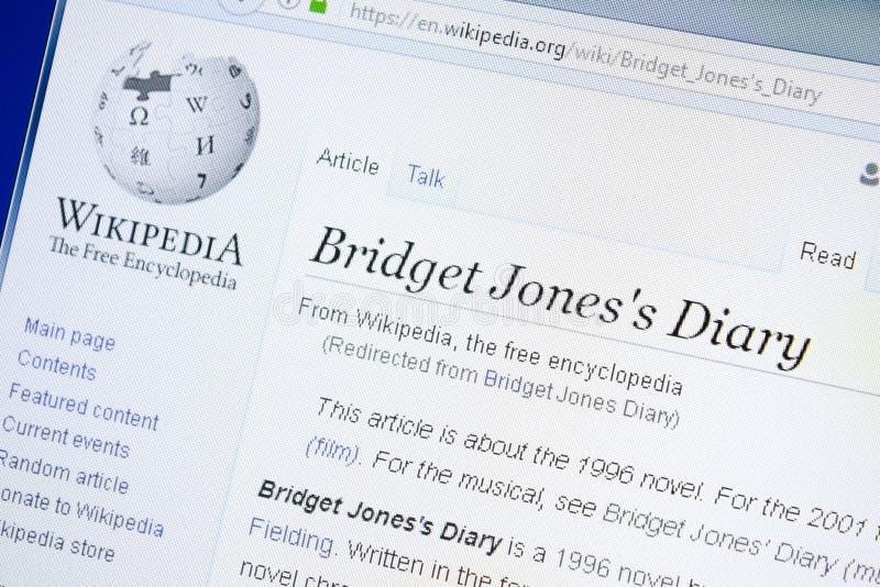 Ryazan, Rusia - 28 de agosto de 2018: Página de Wikipedia sobre Bridget Jones \ el 'diario de s en la exhibición de la PC fotos de archivo