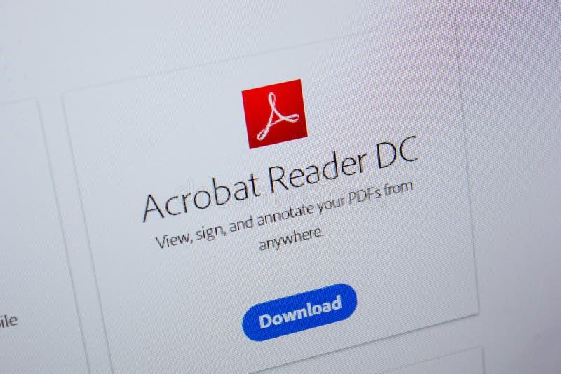 Ryazan, Rusia - 11 de julio de 2018: Adobe Acrobat Reader, logotipo del software en el sitio web oficial de Adobe fotografía de archivo libre de regalías