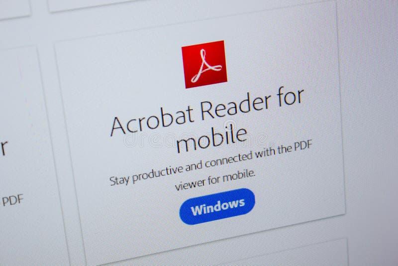Ryazan, Rusia - 11 de julio de 2018: Adobe Acrobat Reader para el móvil, logotipo del software en el sitio web oficial de Adobe imágenes de archivo libres de regalías