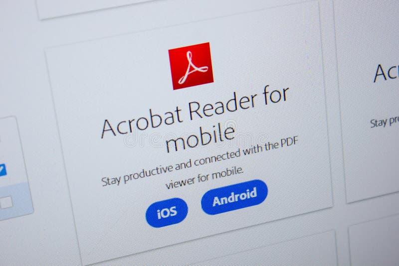 Ryazan, Rusia - 11 de julio de 2018: Adobe Acrobat Reader para el móvil, logotipo del software en el sitio web oficial de Adobe fotografía de archivo libre de regalías