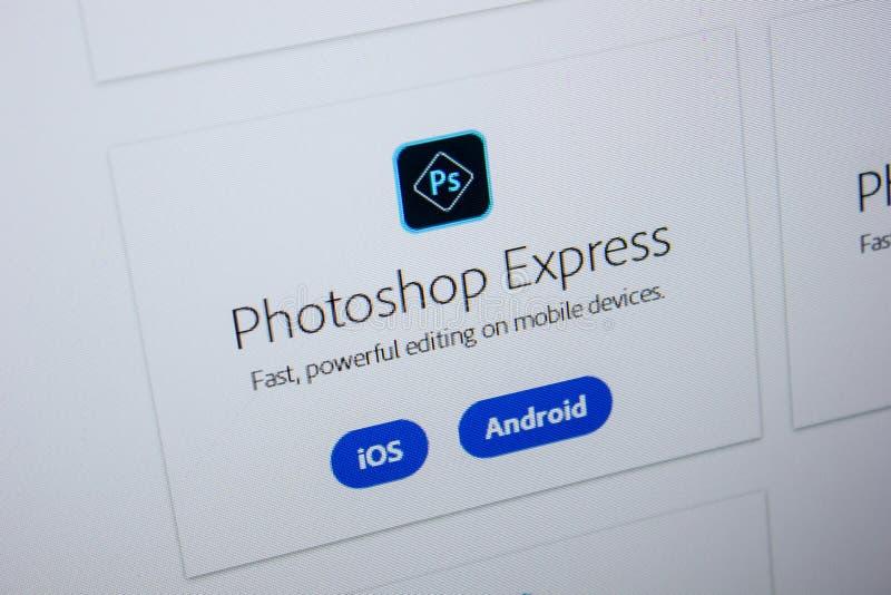Ryazan, Rusia - 11 de julio de 2018: Adobe Photoshop expreso, logotipo del software en el sitio web oficial de Adobe fotografía de archivo