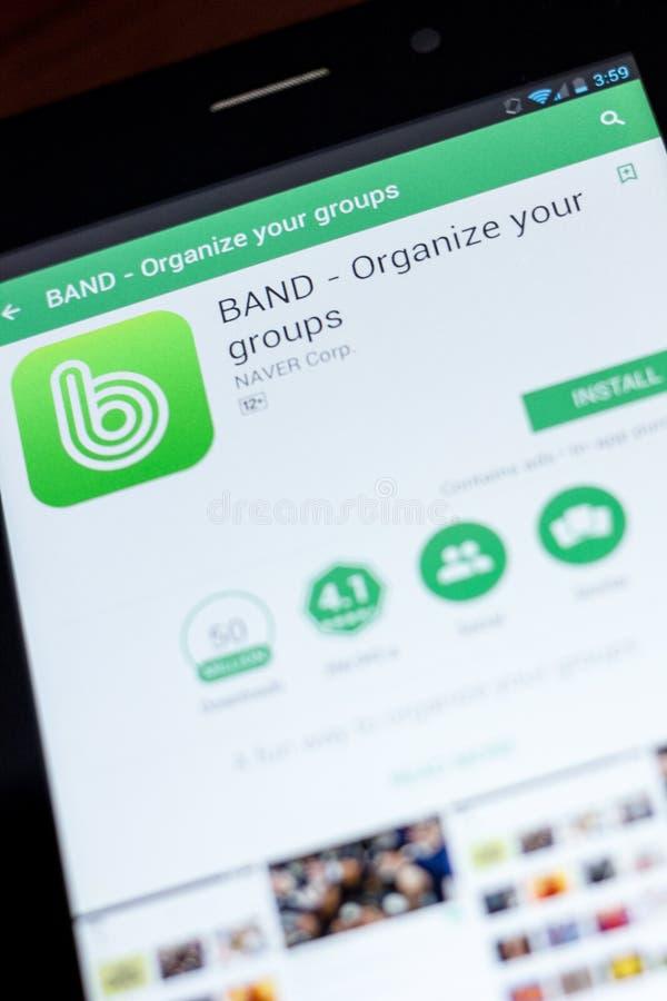 Ryazan, Rusia - 3 de julio de 2018: BANDA - organice sus grupos app móvil en la exhibición de la tableta foto de archivo libre de regalías