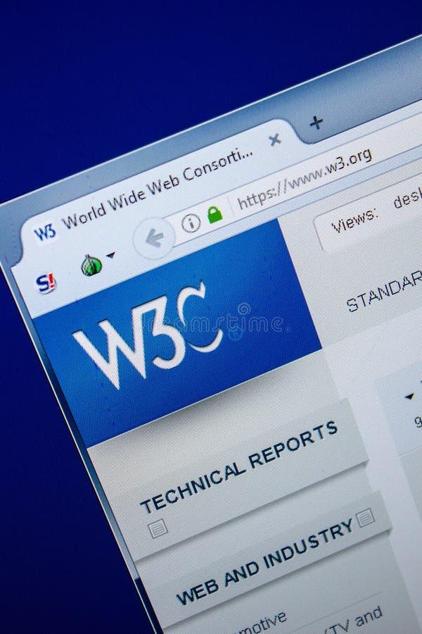 Ryazan, Rusia - 25 de julio de 2018: Homepage del sitio web W3 en la exhibición de la PC URL - W3 org imagen de archivo