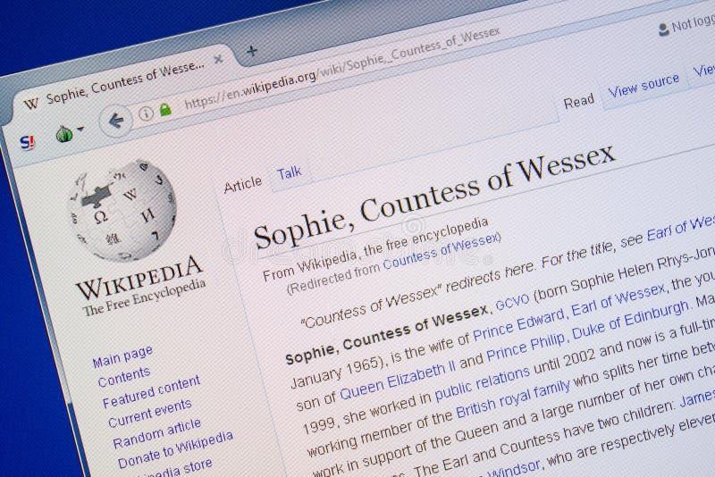 Ryazan, Rusia - 9 de julio de 2018: Página en Wikipedia sobre Sophie, condesa de Wessex en la exhibición de la PC fotografía de archivo