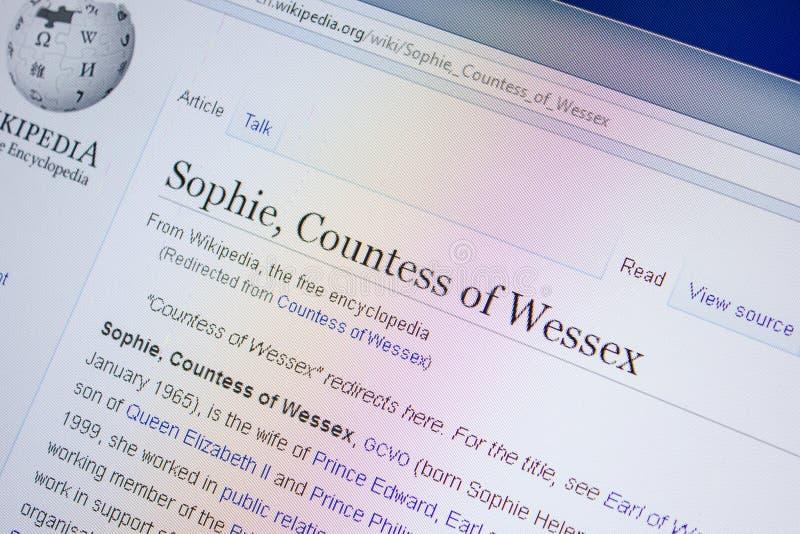 Ryazan, Rusia - 9 de julio de 2018: Página en Wikipedia sobre Sophie, condesa de Wessex en la exhibición de la PC foto de archivo libre de regalías