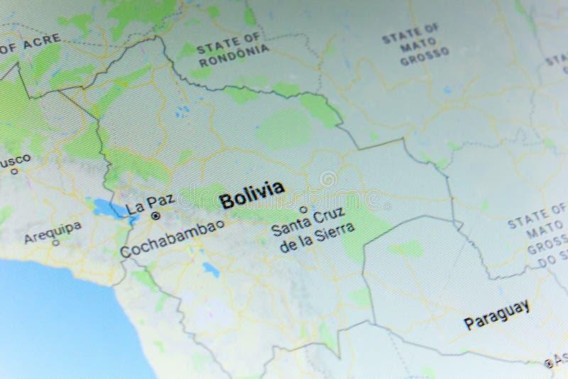 Ryazan, Rusia - 8 de julio de 2018: País de Bolivia en el servicio de Google Maps foto de archivo
