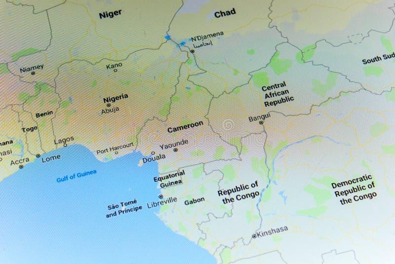 Ryazan, Rusia - 8 de julio de 2018: País del Camerún en el servicio de Google Maps foto de archivo