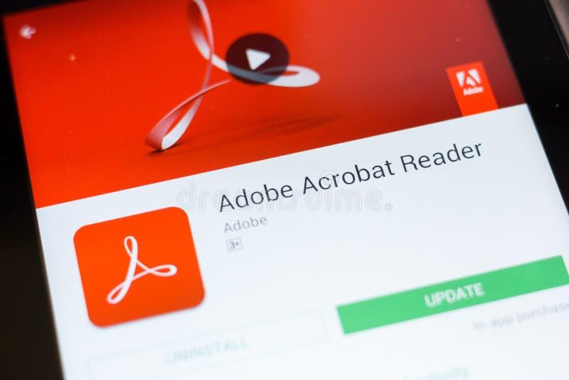 Ryazan, Rusia - 24 de junio de 2018: Adobe Acrobat Reader app móvil en la exhibición de la tableta fotografía de archivo libre de regalías