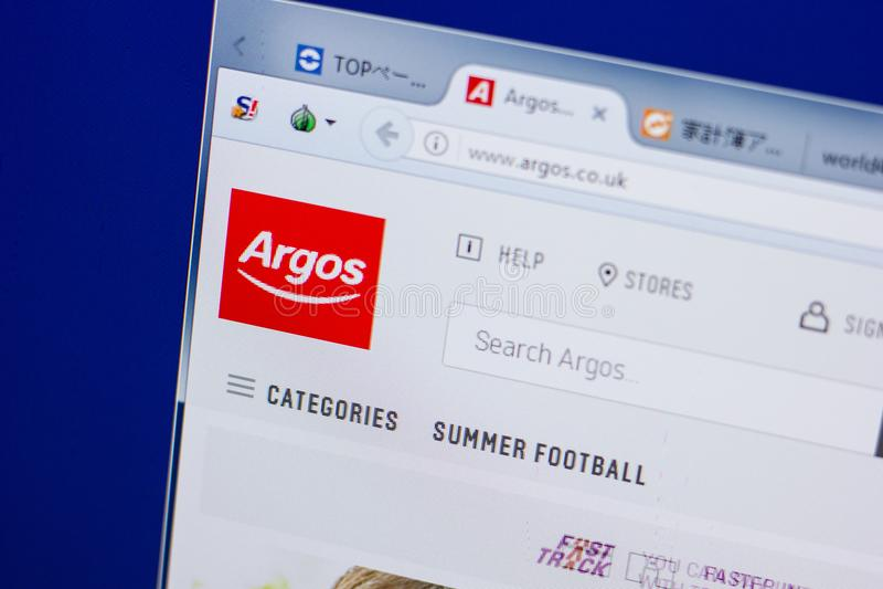 Ryazan, Rusia - 17 de junio de 2018: Homepage del sitio web de Argos en la exhibición de la PC, URL - Argos Co Reino Unido fotografía de archivo