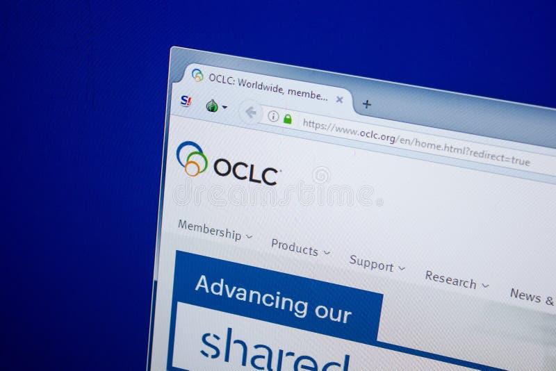 Ryazan, Rusia - 26 de junio de 2018: Homepage del sitio web del OCLC en la exhibición de la PC URL - OCLC org fotografía de archivo libre de regalías