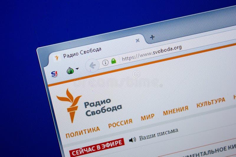 Ryazan, Rusia - 26 de junio de 2018: Homepage del sitio web de Svoboda en la exhibición de la PC URL - Svoboda org fotos de archivo libres de regalías