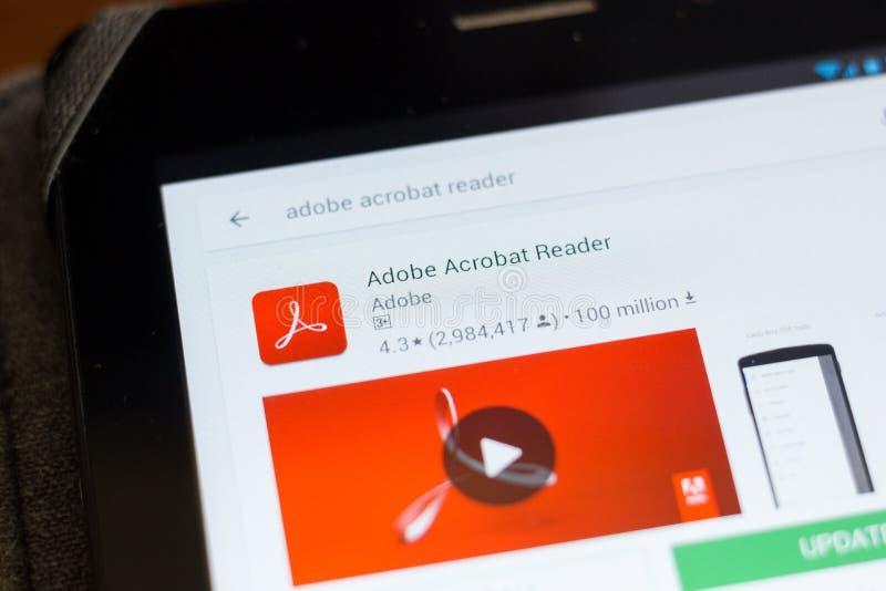 Ryazan, Rusia - 24 de junio de 2018: Icono de Adobe Acrobat Reader en la lista de apps móviles fotos de archivo libres de regalías
