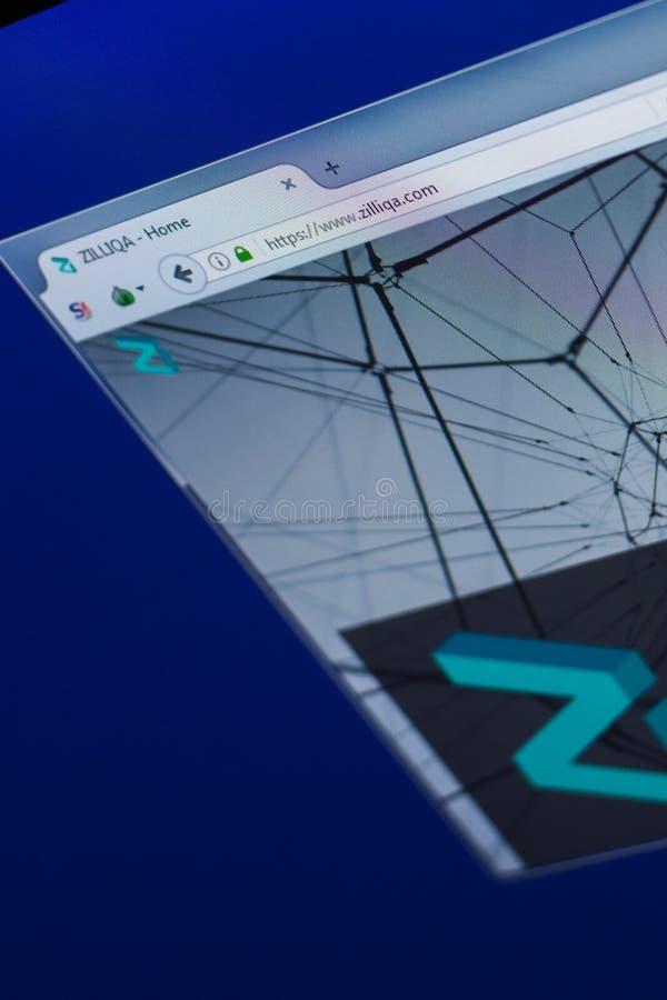 Ryazan, Rusia - 29 de marzo de 2018 - homepage de la moneda crypto en la exhibición de la PC, dirección del web - zilliqa de Zill fotos de archivo libres de regalías