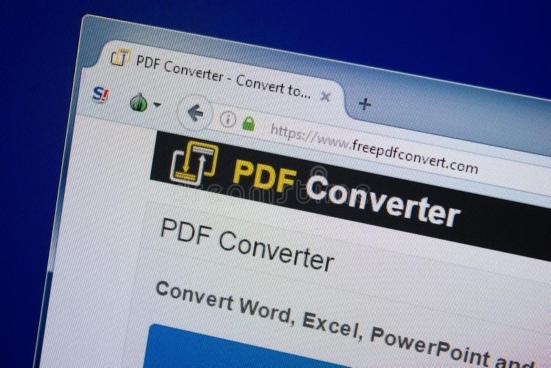 Ryazan, Rusia - 9 de septiembre de 2018: Homepage del sitio web libre del convertido del pdf en la exhibición de la PC, URL - Fre foto de archivo libre de regalías