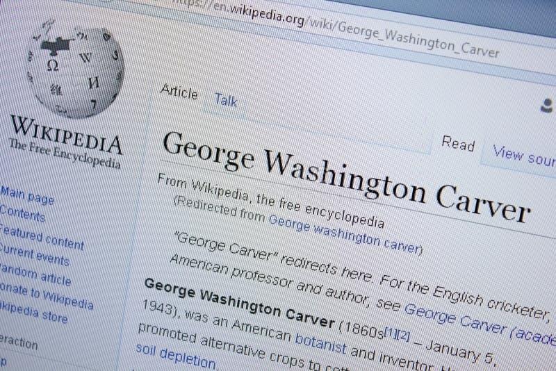 Ryazan, Rusia - 9 de septiembre de 2018 - página de Wikipedia sobre George Washington Carver en una exhibición de la PC fotos de archivo