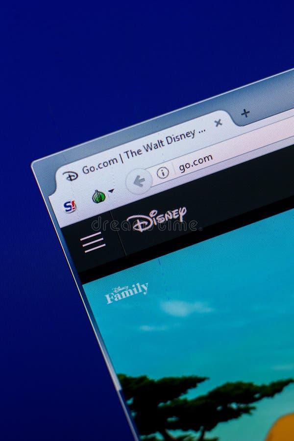 Ryazan, Rusland - April 16, 2018 - Homepage van Walt Disney-website op de vertoning van PC, url - ga com royalty-vrije stock foto's