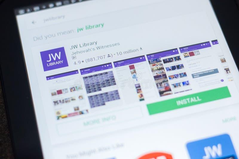 Ryazan, Rusland - April 19, 2018 - JW-Bibliotheekpictogram op de lijst van mobiele apps royalty-vrije stock afbeelding