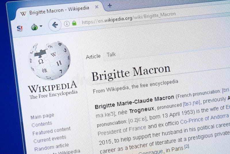 Ryazan, Rusland - Augustus 19, 2018: Wikipedia-pagina over Brigitte Macron op de vertoning van PC royalty-vrije stock afbeeldingen