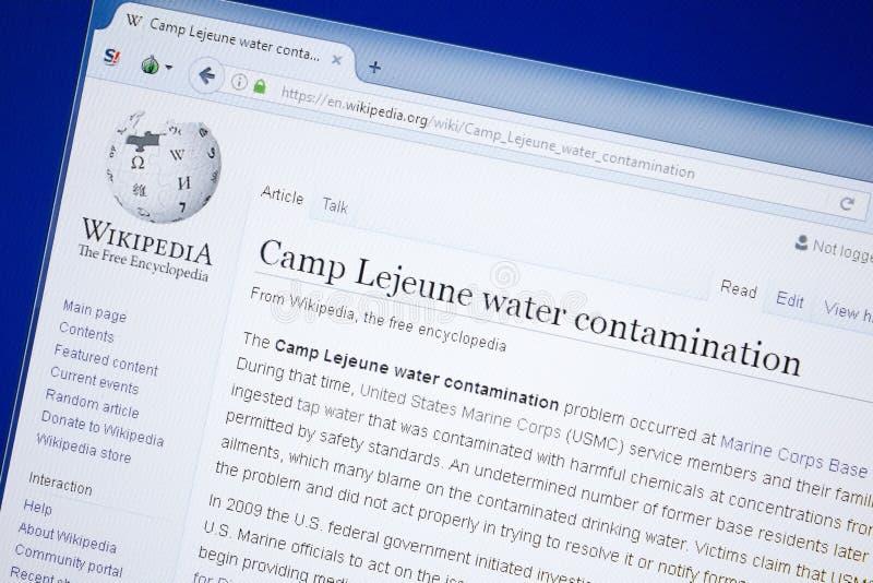 Ryazan, Rusland - Augustus 19, 2018: Wikipedia-pagina over het waterverontreiniging van Kamplejeune op de vertoning van PC royalty-vrije stock foto