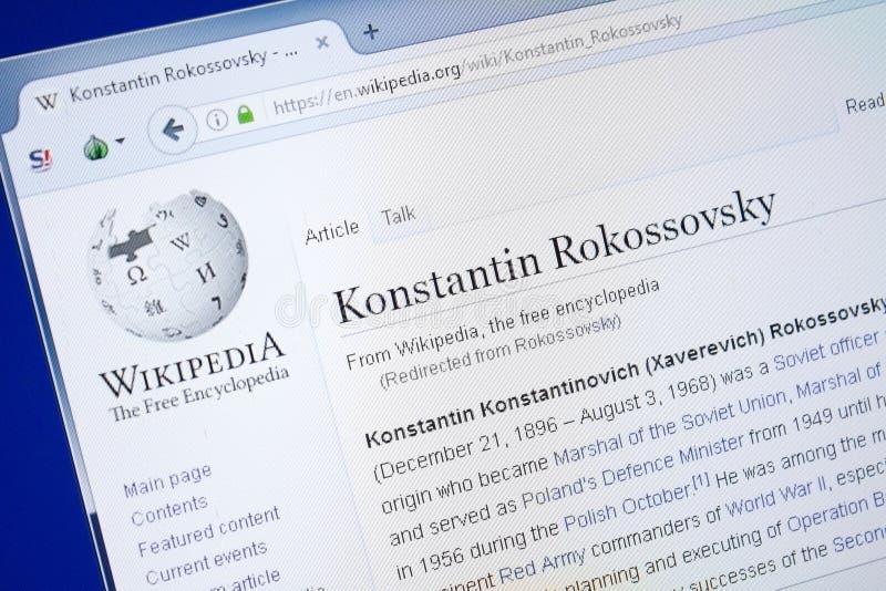 Ryazan, Rusland - Augustus 19, 2018: Wikipedia-pagina over Konstantin Rokossovsky op de vertoning van PC stock afbeelding