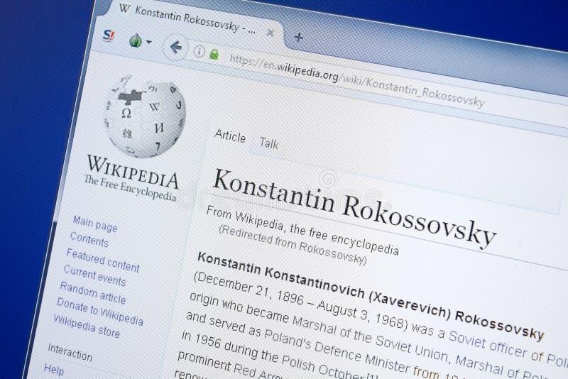 Ryazan, Rusland - Augustus 19, 2018: Wikipedia-pagina over Konstantin Rokossovsky op de vertoning van PC royalty-vrije stock foto's