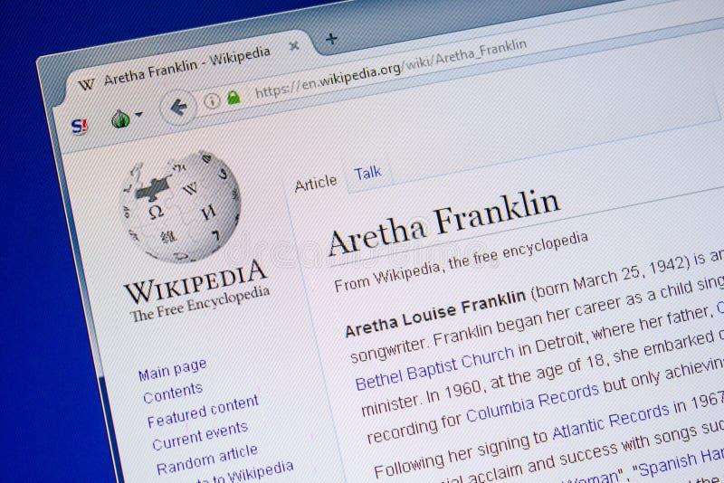 Ryazan, Rusland - Juli 09, 2018: Pagina op Wikipedia over Aretha Franklin op de vertoning van PC stock afbeelding