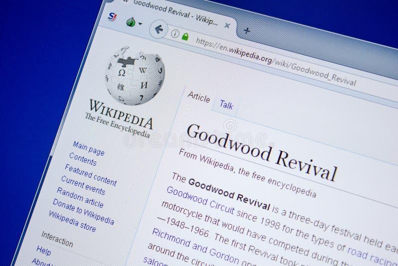 Ryazan, Rusland - Juli 09, 2018: Pagina op Wikipedia over Goodwood-Heropleving op de vertoning van PC royalty-vrije stock fotografie