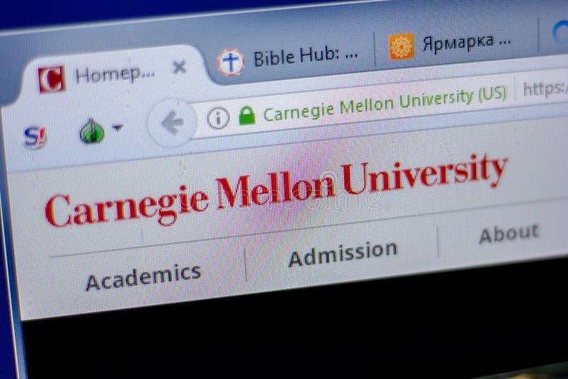 Ryazan, Rusland - Juni 05, 2018: Homepage van Carnegie Mellon Universitaire website op de vertoning van PC, url - cmu edu royalty-vrije stock afbeelding