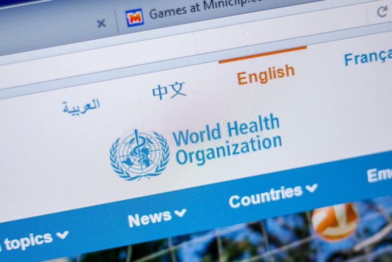 Ryazan, Rusland - Juni 05, 2018: Homepage van de Organisatiewebsite van Wereldhealt op de vertoning van PC, url - Who int. royalty-vrije stock foto's