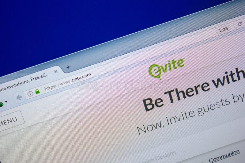 Ryazan, Rusland - Juni 26, 2018: Homepage van Evite-website op de vertoning van PC URL - Evite com stock foto's