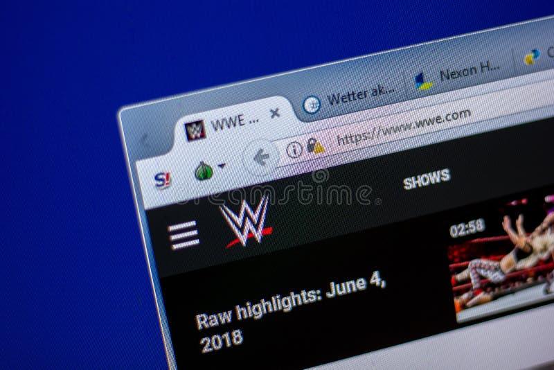 Ryazan, Rusland - Juni 05, 2018: Homepage van WWE-website op de vertoning van PC, url - WWE com royalty-vrije stock foto's