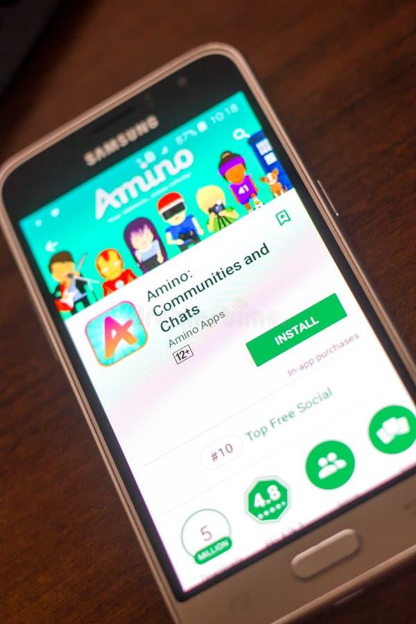Ryazan, Rusland - Mei 04, 2018: Amino mobiele app op de vertoning van celtelefoon stock afbeelding