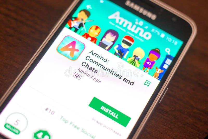 Ryazan, Rusland - Mei 04, 2018: Amino mobiele app op de vertoning van celtelefoon royalty-vrije stock foto