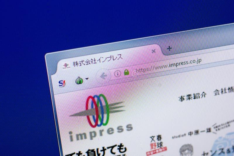 Ryazan, Rusland - Mei 20, 2018: Homepage van Impress website op de vertoning van PC, url - maak op indruk Co JP royalty-vrije stock afbeelding