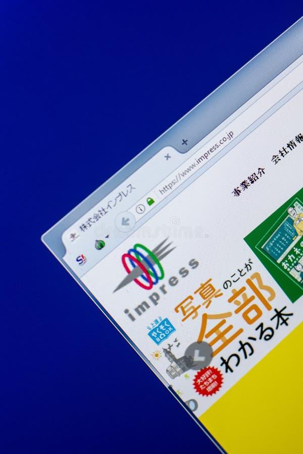 Ryazan, Rusland - Mei 20, 2018: Homepage van Impress website op de vertoning van PC, url - maak op indruk Co JP royalty-vrije stock foto