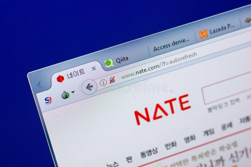 Ryazan, Rusland - Mei 20, 2018: Homepage van Nate-website op de vertoning van PC, url - Nate com royalty-vrije stock afbeelding