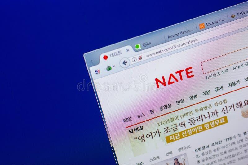 Ryazan, Rusland - Mei 20, 2018: Homepage van Nate-website op de vertoning van PC, url - Nate com stock afbeeldingen