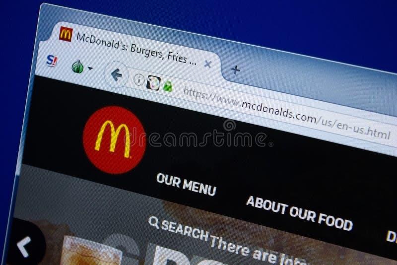 Ryazan, Rusland - September 09, 2018: Homepage van Mc Donalds website op de vertoning van PC, url - McDonalds com stock afbeelding