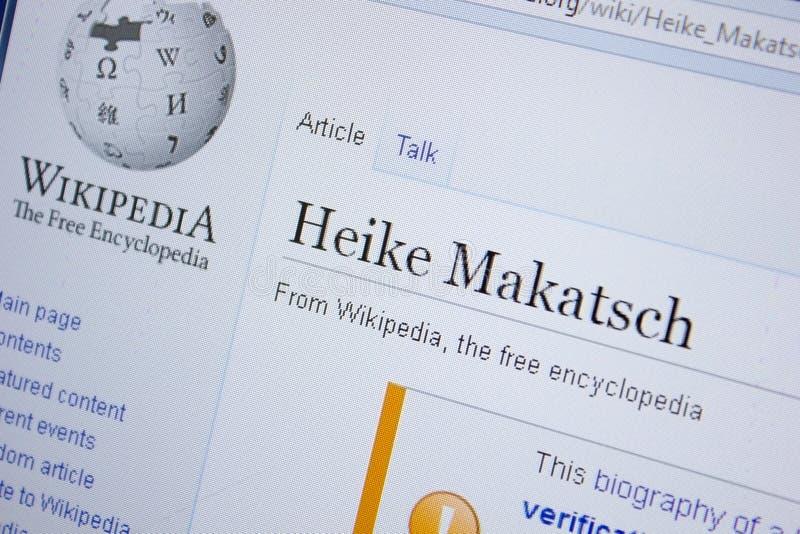 Ryazan, Rusland - September 09, 2018 - Wikipedia-pagina over Heike Makatsch op een vertoning van PC royalty-vrije stock foto