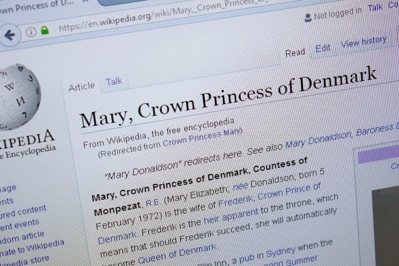 Ryazan, Rusland - September 09, 2018 - Wikipedia-pagina over Mary Crown Princess van Denemarken op een vertoning van PC stock foto's