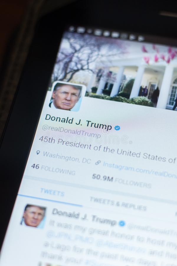 Ryazan, Russia - April 19, 2018 - Donald Trump, USA president twitter account on the display of tablet PC. royalty free stock images