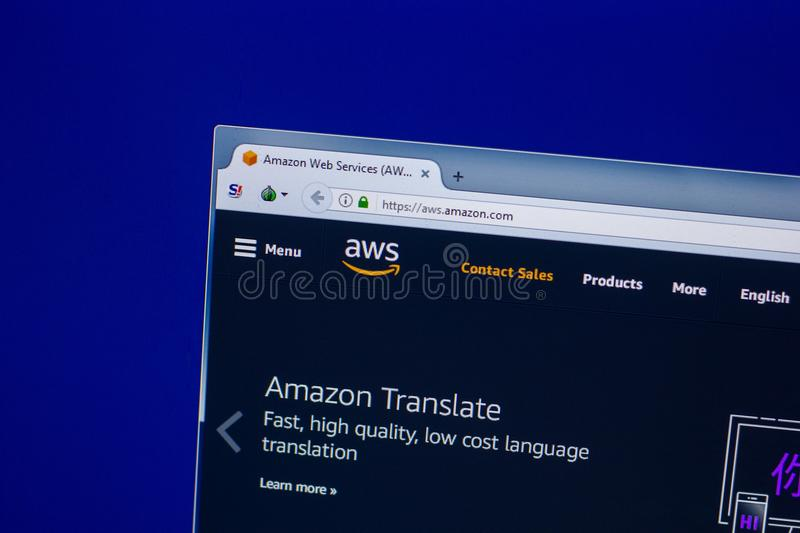 Ryazan, Russia - April 16, 2018 - Homepage of Amazon Web Services - AWS website on the display of PC. stock photos